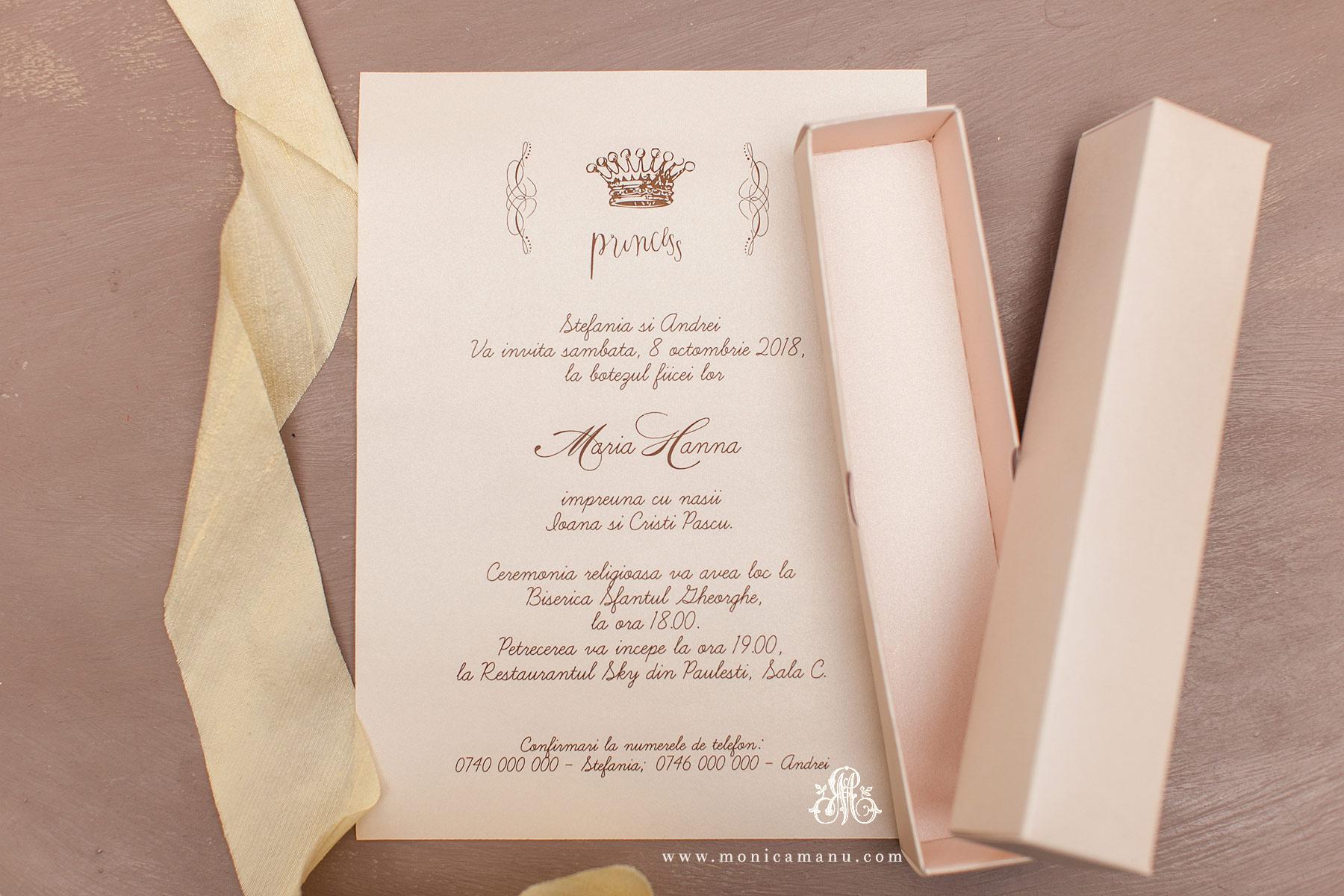 Invitatie Botez Princess In Cutie Roz Pal Monica Manu
