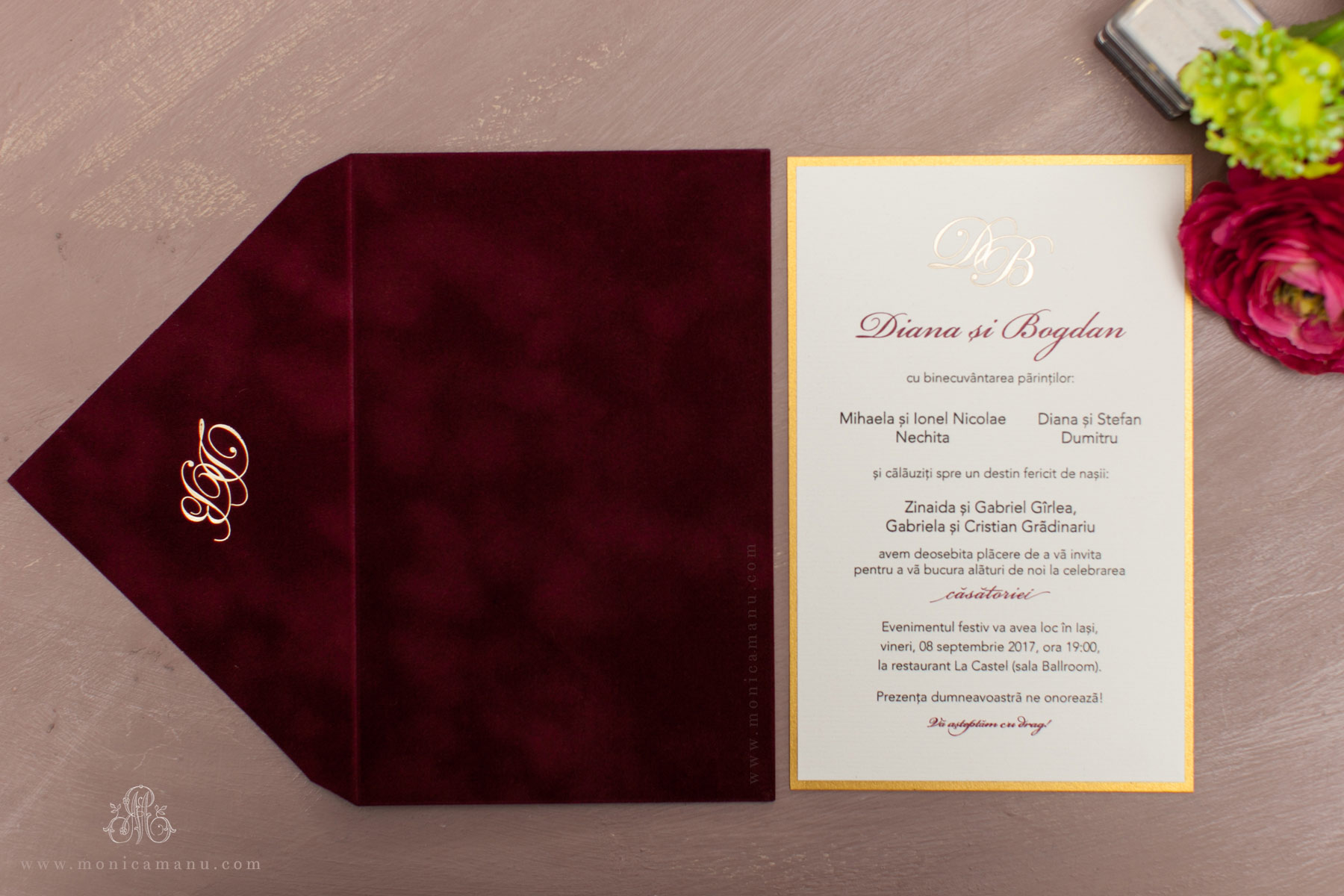 Invitatie Nunta Eleganta Cu Plic Catifea Monica Manu